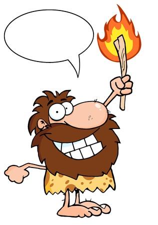 Edad de Piedra: Hombre de las cavernas feliz celebraci�n de una antorcha Con burbuja del discurso Vectores