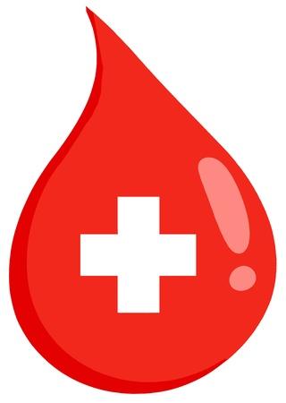 Goccia di sangue Rosso Con Medicine Simbol Archivio Fotografico - 12352788