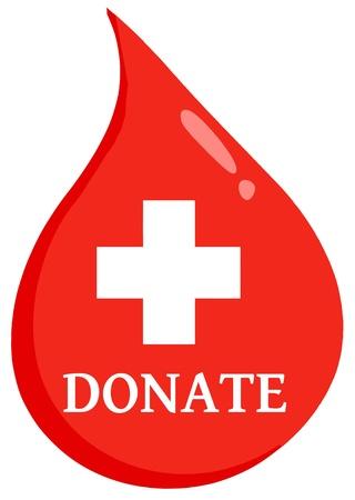 hemorragia: Gota de sangre roja con Medicina Simbol Y Donar texto