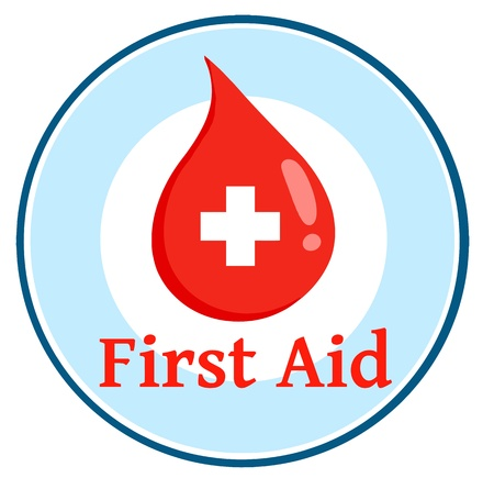 Red Blood Drop With Banner With Text First Aid Illustration