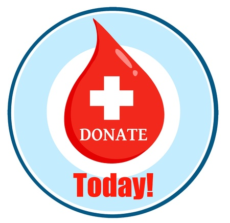 blood drops: Red Blood Drop With Banner With Text Donate Today Illustration