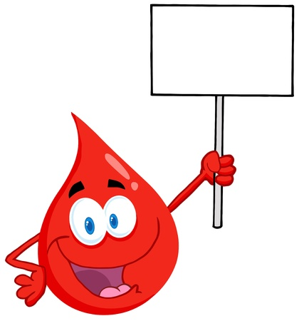 donor: Sangre individuo con un cartel en blanco Vectores