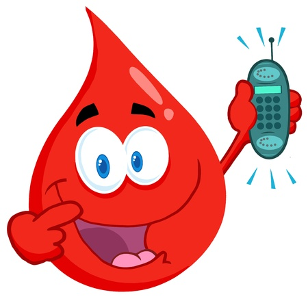 Blood Guy Holding A Cell Phone Vector