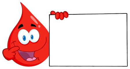 blood transfusion: Blood Guy Presenting A Blank Sign Illustration