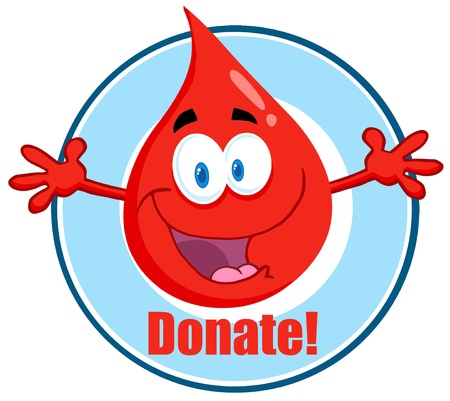 health cartoons: Blood Guy Asking You To Donate  Illustration