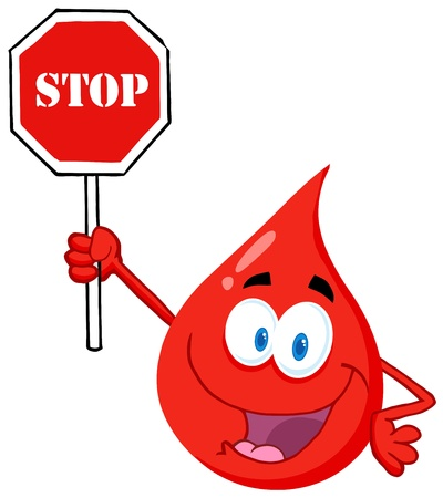 health cartoons: Blood Guy Holding A Stop Sign