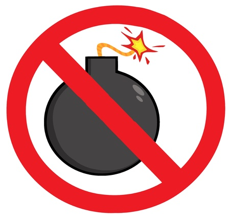 Stop Bombing Sign Vector