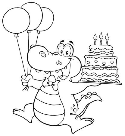 Compleanno Crocodile Delineato Holding Up Una torta di compleanno Con Candele Archivio Fotografico - 12352962