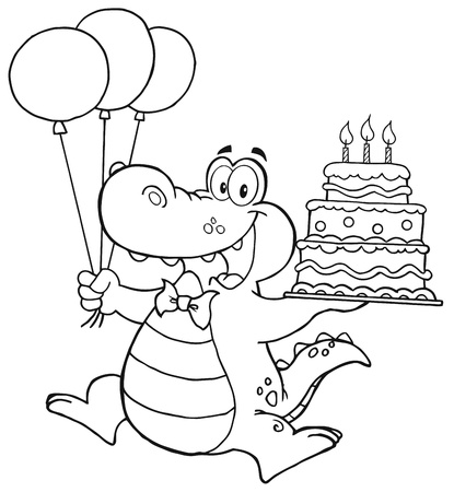 Outlined Birthday Crocodile Holding Up A Birthday Cake With Candles Vector