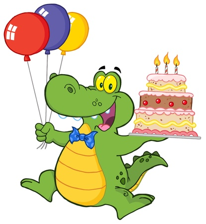 b day parties: Birthday Alligator With Balloons And Cake