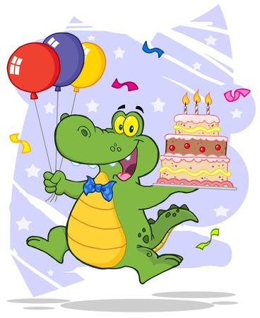 Partido Cocodrilo con globos y un pastel de cumpleaños