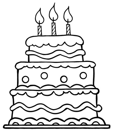 trozo de pastel: Esboz� la torta de cumplea�os con tres velas