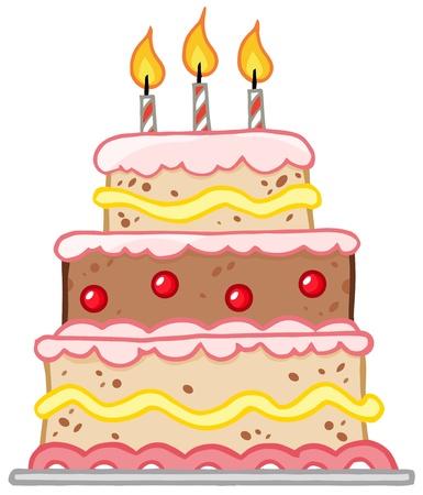 porcion de torta: Pastel de cumplea�os con tres velas