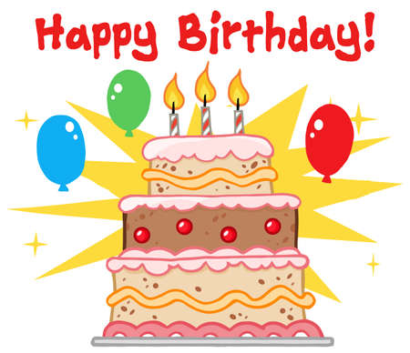 porcion de torta: Saludo con torta de cumplea�os con tres velas Vectores