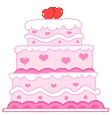 torta panna: Torta nuziale con due cuori rossi Vettoriali