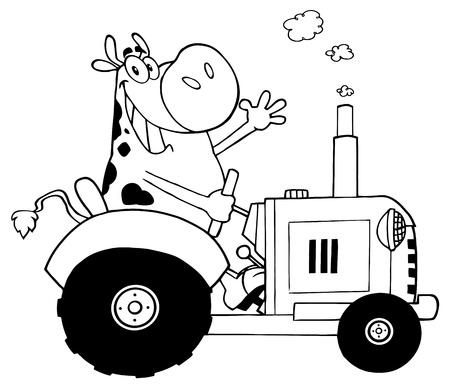 Skizziert Happy Cow Landwirt in roter Traktor wedelte mit einem Gruß