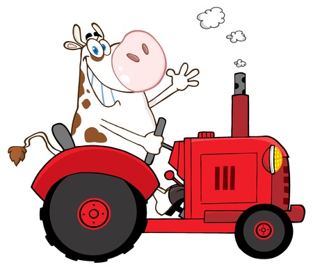 Happy Cow Farmer In Red Tractor Waving A Greeting Illustration