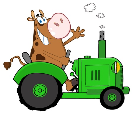 farm animal cartoon: Happy Brown Cow Farmer In Red Tractor Waving A Greeting