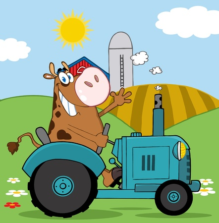 Happy Brown Cow Farmer In Red Tractor Waving A Greeting On His Farm