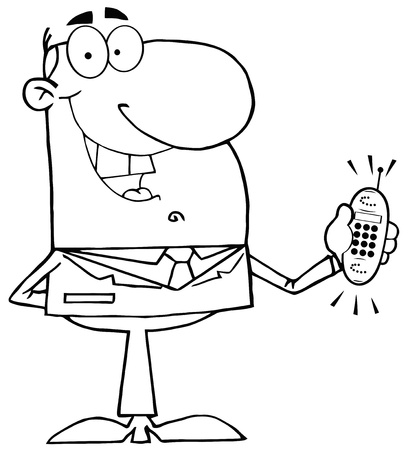 Outlined Happy Businessman With Phone Ringing Vector