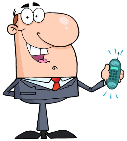 cellphone icon: Happy Businessman With Phone Ringing