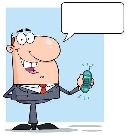 man on cell phone: Hombre de negocios feliz con timbre del tel�fono y Speech Bubbles