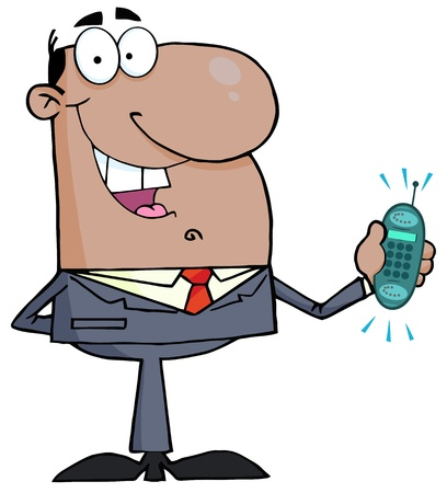 cellularphone: African American Businessman With Phone Ringing Illustration
