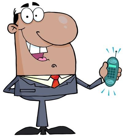 afroamericanas: Hombre de negocios afroamericano con timbre del tel�fono