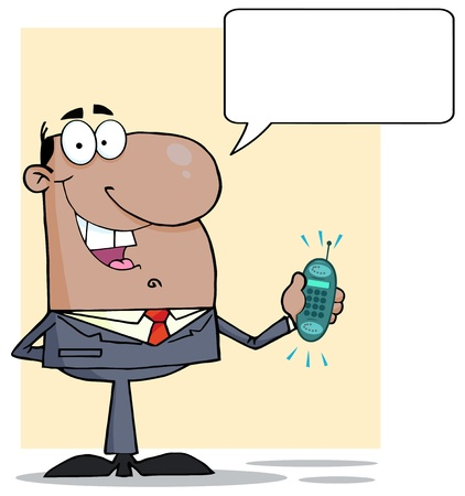phone: African American Businessman With Phone Ringing And Speech Bubbles Illustration
