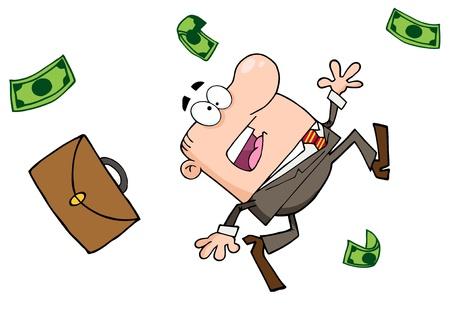 Failed Businessman Goes Down Stock Vector - 12353005