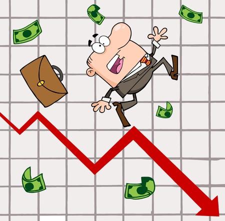 calamiteit: Mislukt Zakenman Goes Down With The Statistieken Pijl Stock Illustratie