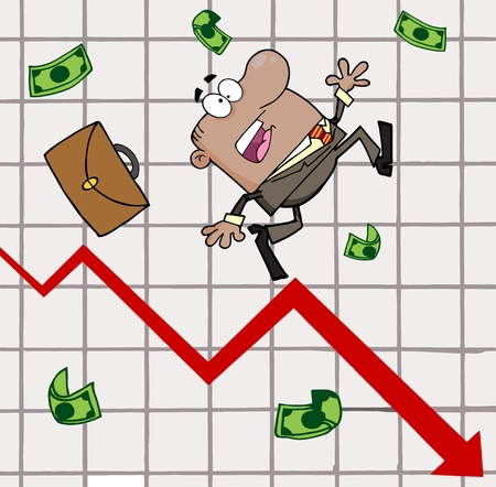 실패 아프리카 계 미국인 사업가 통계 화살표가 아래로 이동합니다 스톡 콘텐츠 - 12353066
