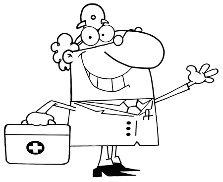 Outlined Smiling And Waving Male Doctor With A First Aid Kit Vector