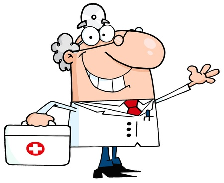medico caricatura: Sonriendo y saludando doctor de sexo masculino con un kit de primeros auxilios Vectores