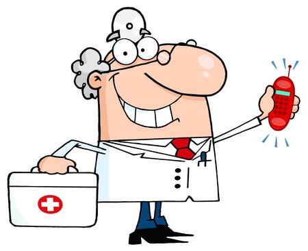 botiquin primeros auxilios: Sonriente m�dico masculino con un botiqu�n de primeros auxilios y llamar al tel�fono