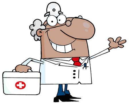 erste hilfe koffer: African American m�nnlich Doktor mit einem First Aid Kit Waving