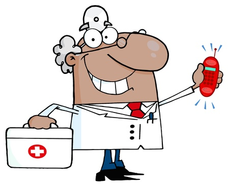 African American Doctor With A First Aid Kit And Phone Ringing Ilustracja