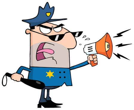 Angry Police Officer Yelling Through A Megaphone