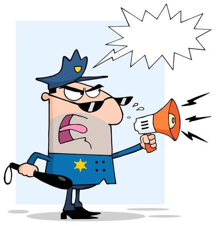 Angry Police Officer Yelling Through A Megaphone With Speech Bubble Vector