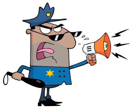 Angry African American Police Officer Yelling Through A Megaphone