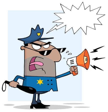 African American Police Officer Yelling Through A Megaphone With Speech Bubble Stock Illustratie