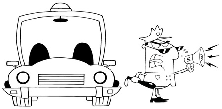 Outlined Traffic Police Officer Yelling Through A Megaphone With Car Vector