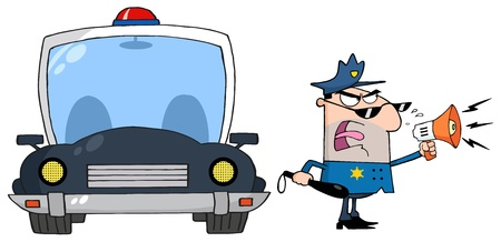 Traffic Police Officer Yelling Through A Megaphone With Car Illustration