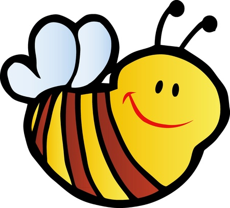 Smilling Bee Cartoon Character Vector