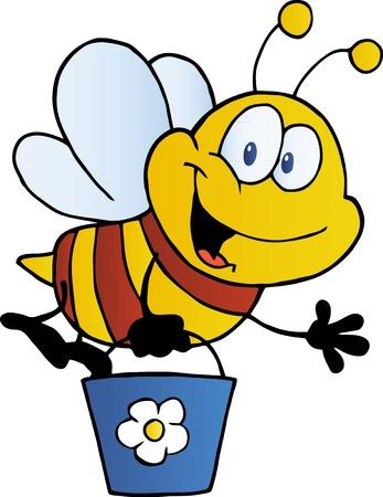 bee on flower: Bee Flying Bucket Illustration