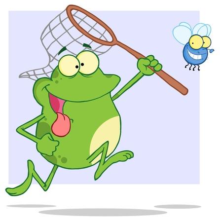 Hongerige Kikker Chasing Vlieg met een netto Stock Illustratie