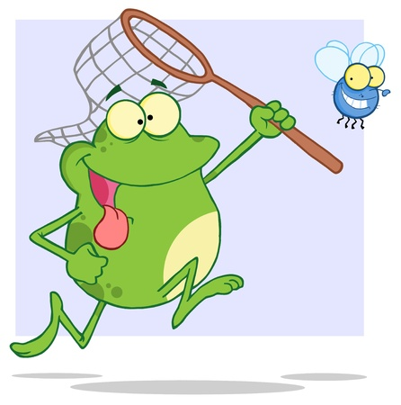 Hungry Frog Chasing Fly With A Net Vector