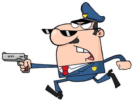 policier: Officier de Police Running With A Gun Illustration