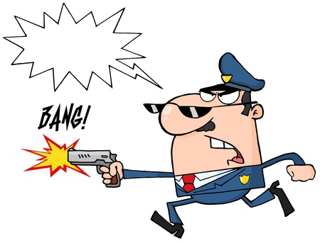 Angry Police Officer Running With A Gun And Shooting Illustration