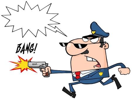 runing: Oficial de Polic�a Running enojado con un arma y disparar Vectores
